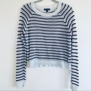 Kendall & Kylie White Striped Open Knit Sweater